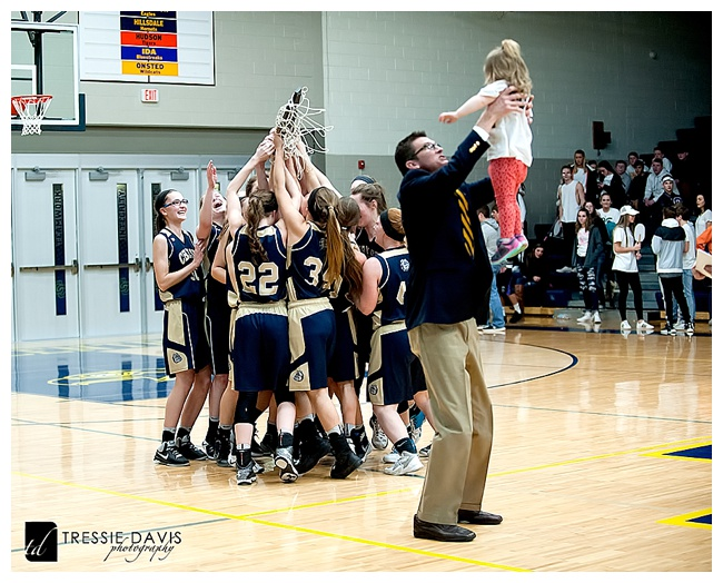 Chelsea Girls Varsity basketball celebrating a District Championship