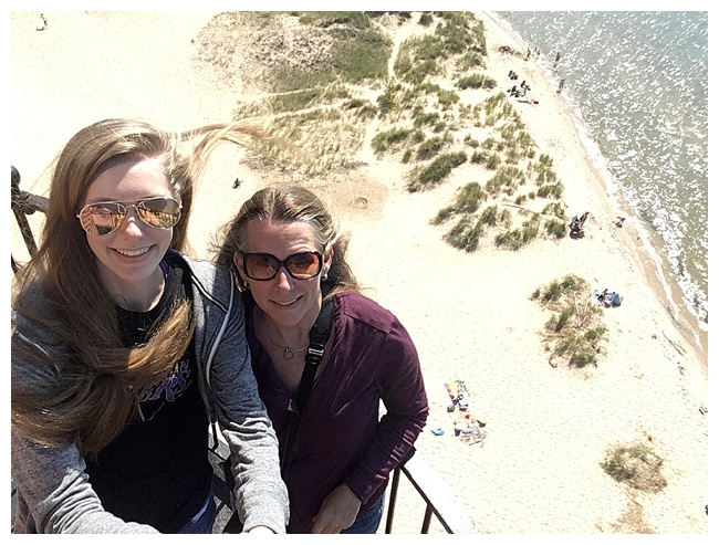 11 Travel Photos - Selfie Stick at the top of Little Sable Point Lighthouse