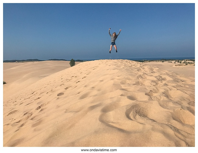 Jumping at Silver Lake Sand Dunes